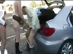Slut wife dogging with a lot of men in parking. Amateur