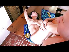 Hot mature Gia fucks young boy